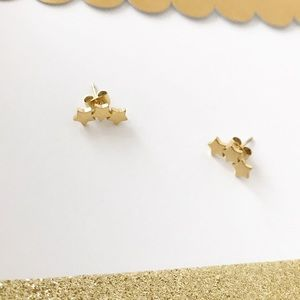 Tiny Star Crawler Earrings Gold Celestial Curved